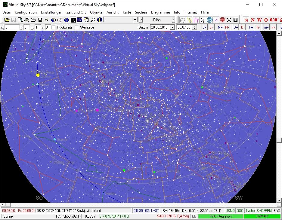 Der Himmel über Reyjkavik, tagsüber im Mai 21016